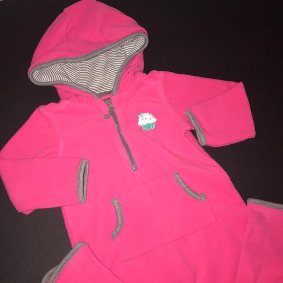 24 Months Carter/'s Baby Girl Pink Jumpsuit Hooded Fleece